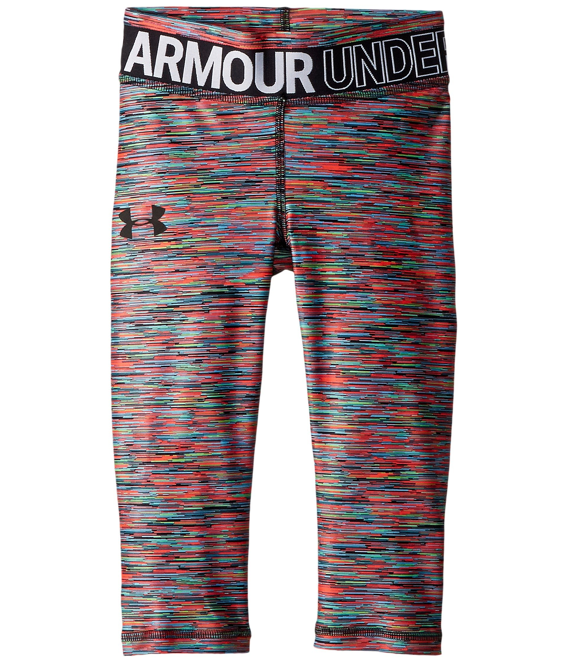 Under Armour Kids Girl's HeatGear¿ Armour Novelty Capris (Big Kids) Black/Black Small by Under Armour