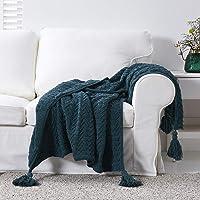 "Longhui bedding Navy Fringe Chenille Knit Throw Blanket for Couch Sofa Bed with 5"" Corner Tassels, Bonus Laundry Bag…"