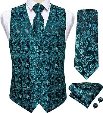 Men/'s Paisley Vest Waistcoat Tie Set Red Blue Black Wedding Party Formal Dress