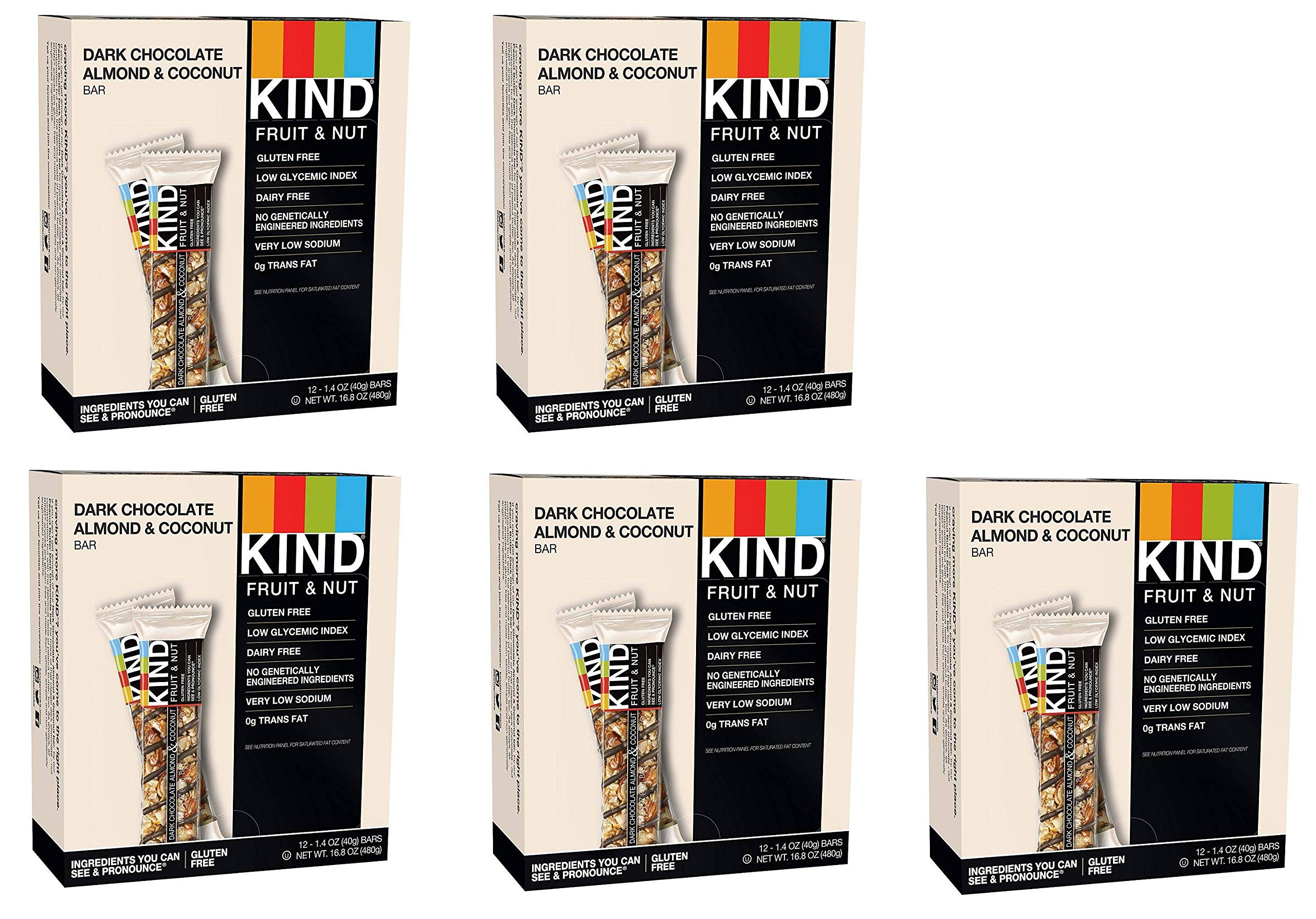 KIND Bars, Dark Chocolate Almond Coconut, Gluten Free, 1.4 Ounce Bars, 60 Bars