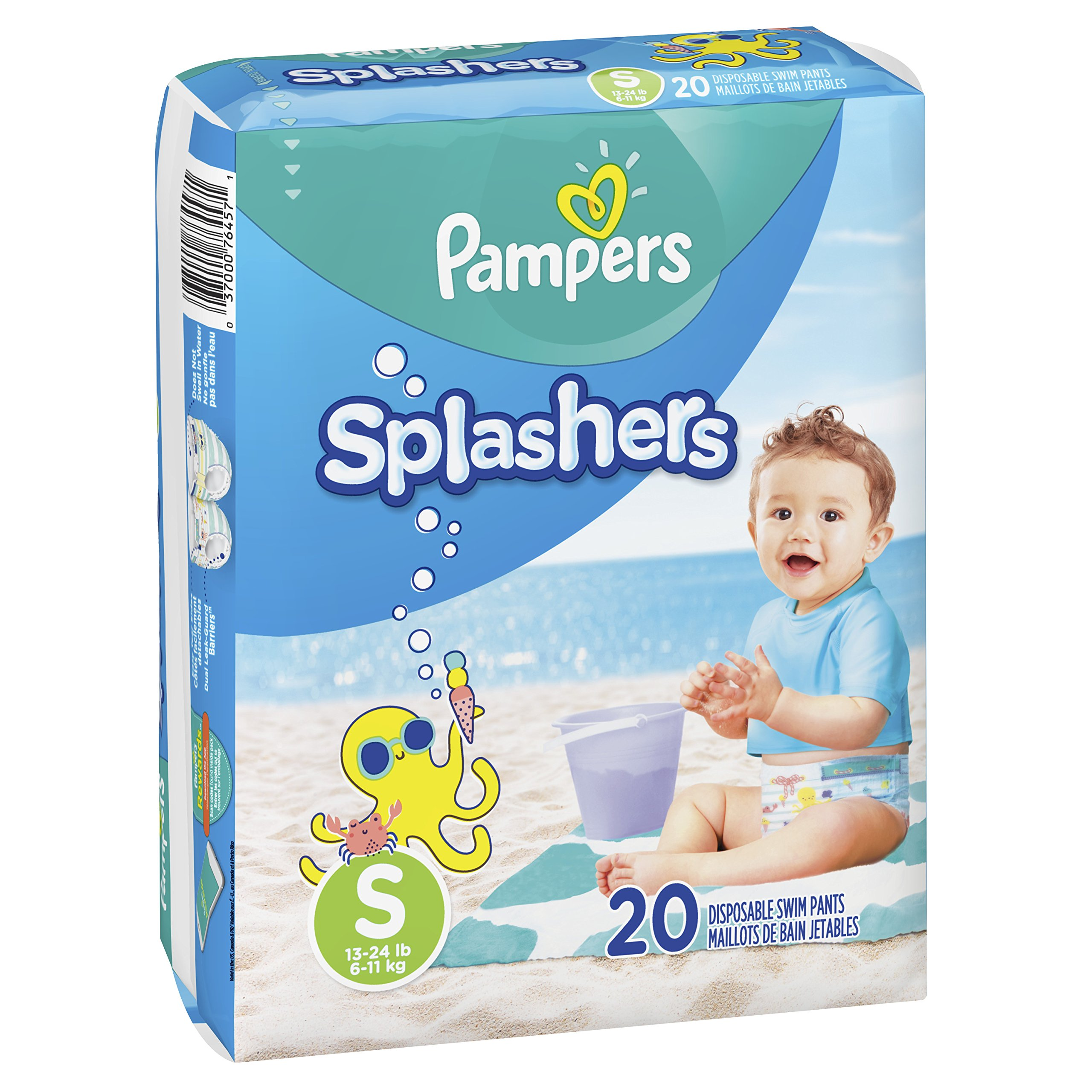 Swim Diapers Size 3 (13-24 lb) – Pampers Splashers Disposable Swim Pants, Small, Pack of 2 (Twinpack), 20 Count