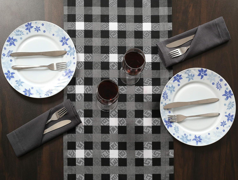 Vichy Chemin de Table Mariage Lavable en Machine 36 x 182 cm Bleu Blanc Clinique du coton Lot de 2 Chemin de Table Coton