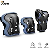 JBM Sports Protective Gear Safety Pads Safeguard Knee Elbow Wrist Support Pad Set Equipment for Kids / Child Roller Skate Bicycle BMX Bike skateboard Extreme Sports Protector Guards Pads (Black, Kids / Child) ¡