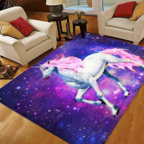 INGBAGS Super Soft Modern unicorn Horse Area Rugs Living Room Carpet Bedroom Rug for Children Play Solid Home Decorator Floor Rug and Carpets 5 3 x 4 – Feet