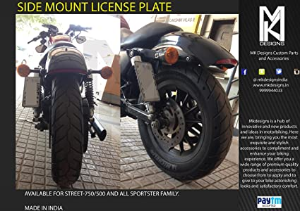 MK DESIGNS INDIA SIDE MOUNT LICENSE PLATE FOR HARLEY DAVIDSON SPORTSTER  FAMILY(IRON 883,FORTY EIGHT