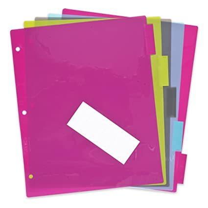 amazon com docit 5 tab insertable dividers for 3 ring binders 5