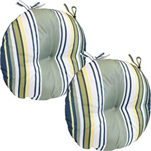 Sunnydaze Polyester Outdoor Bistro Seat Cushions - Set of 2 - 15-Inch Diameter Cozy Round Seat Cushions for Outdoor Chairs - Perfect for The Porch, Lawn, or Deck - Earth Tone Stripes