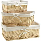 VonHaus Set of 3 Natural Wicker Rattan Baskets with Removable Washable White Liners - Wicker Storage Containers for the Home & Bathroom