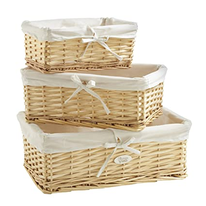 Amazoncom VonHaus Set of 3 Natural Wicker Baskets with Removable