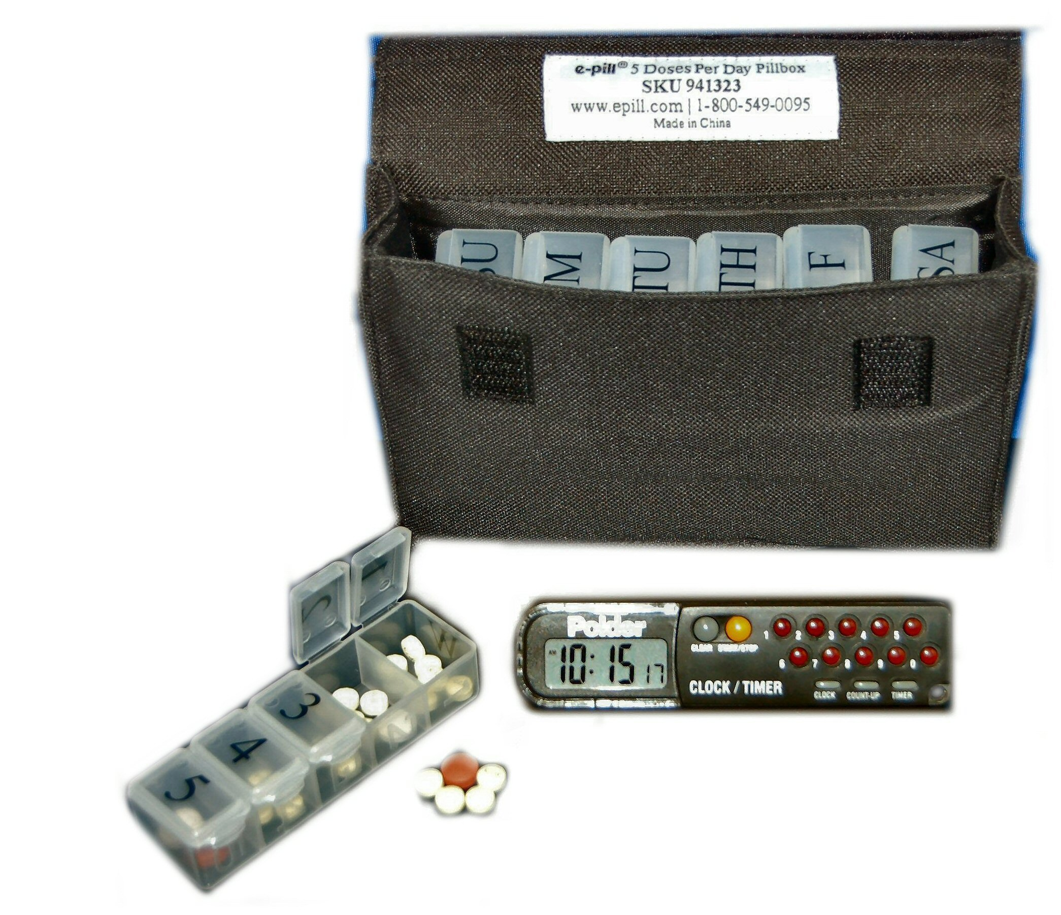 e-Pill | Parkinson's 5 Doses per Day x 7 Day Weekly Pill Organizer with Countdown Interval Timer, Black Canvas Bag and Lanyard