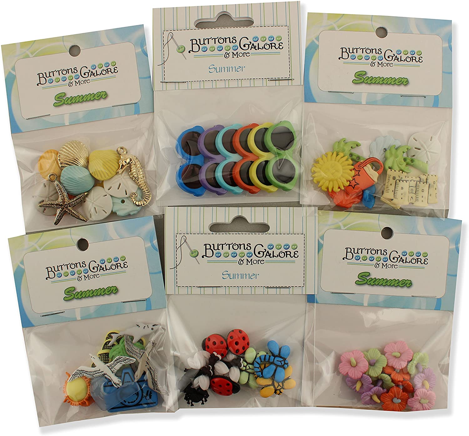 Buttons Galore Summer Button Theme Packs-Set of 6