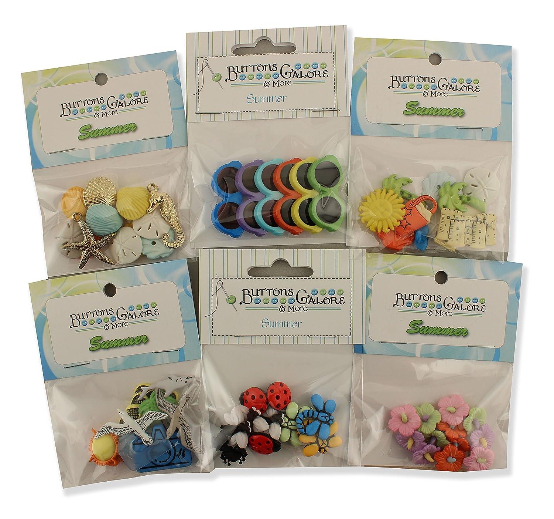 Buttons Galore - Lote de 6 paquetes paquetes 6 temáticos de verano 3276dd