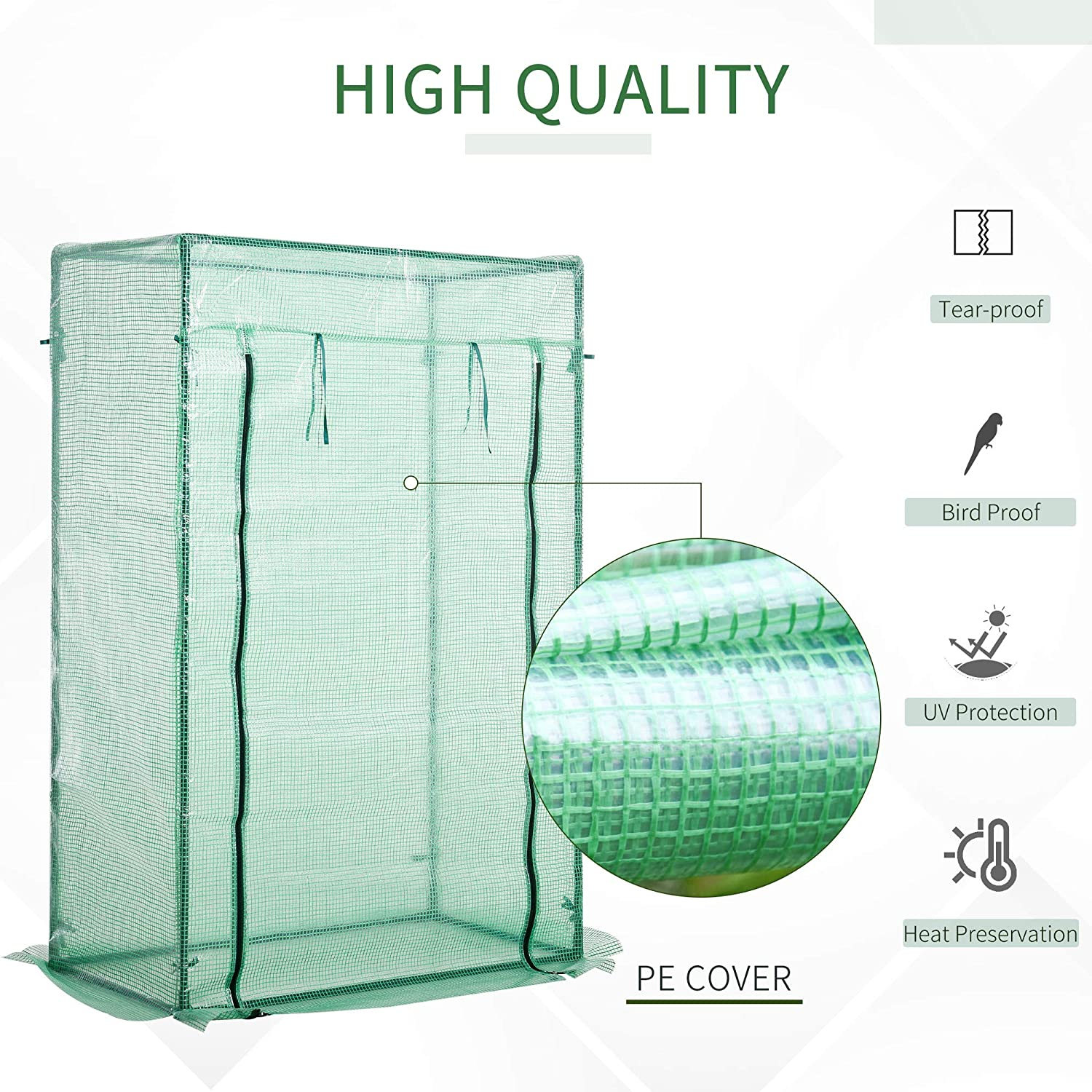 Outsunny 100 x 50 x 150cm Greenhouse Steel Frame PE Cover with Roll-up Door Outdoor for Backyard Garden Balcony