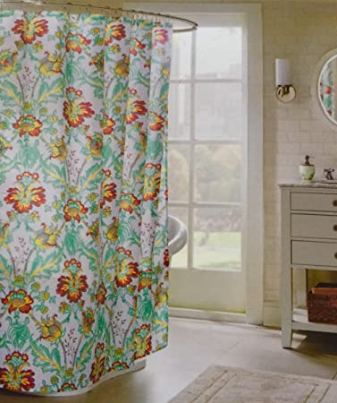 Echo Paisley Flower Fabric Shower Curtain With Hooks
