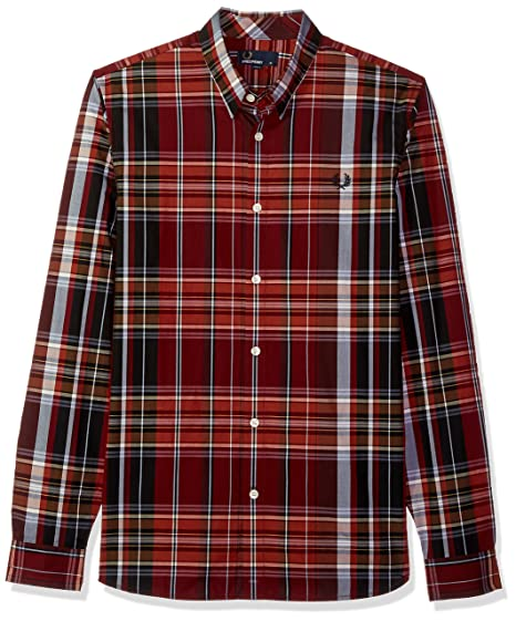 Fred Perry Hombre M3525 Manga Larga Camisa de Botones - Rojo - X ...