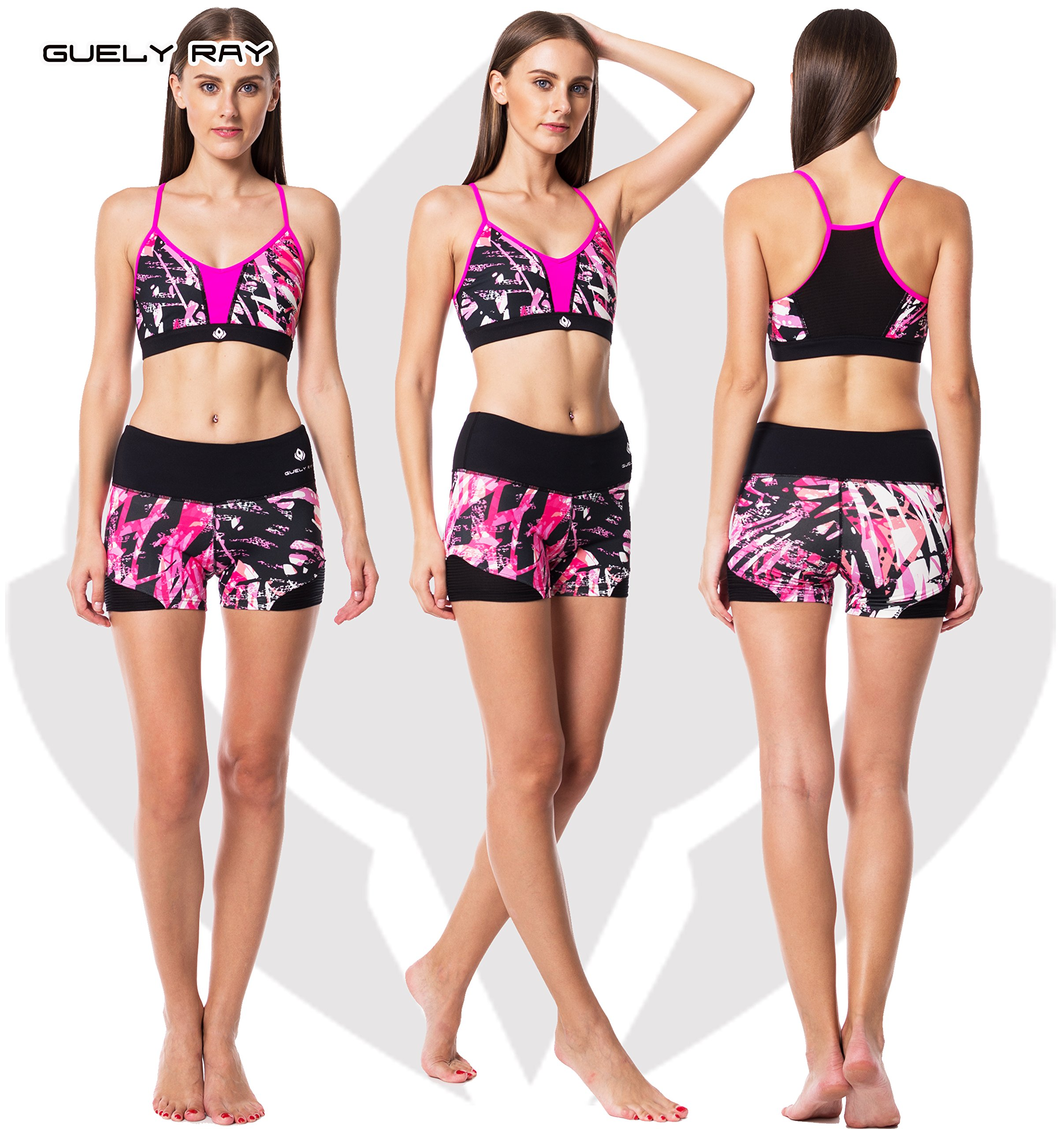 Guely Ray Women's Active Shorts for Workout & Training with Hidden Pocket 11 Styles (L (US 9-11: Waist 29-30.5; Hip 38-39.5), Pink Jungle 3.6'' Inseam) by Guely Ray (Image #5)