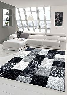 Designer Living Room Rug Contemporary Low Pile Carpet With Contour Cut Diamonds Pattern Grey