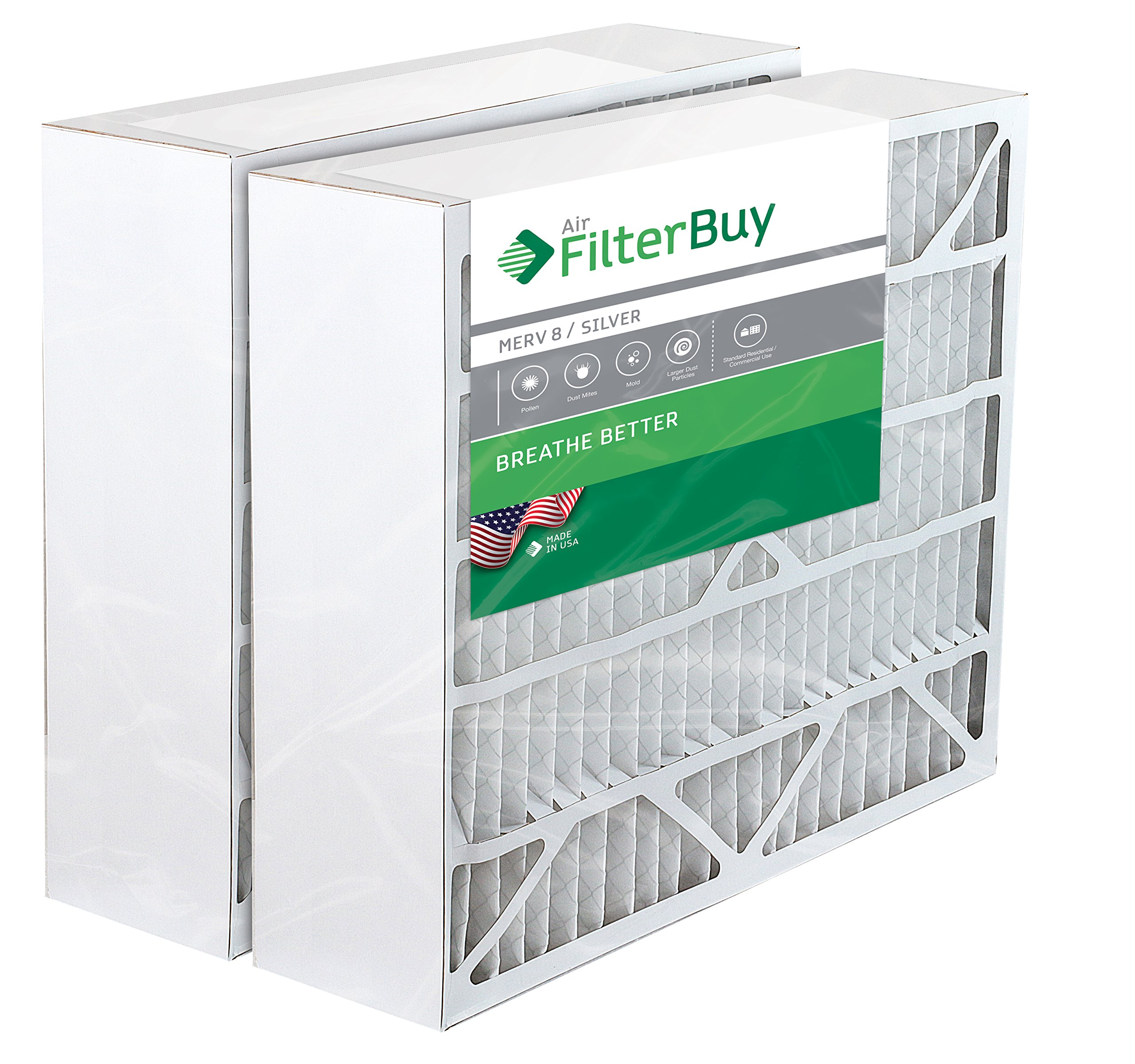 2 - 20x25x6  Space Gard 201 Alternative Pleated AC Furnace Air Filters. Fits Model 2200. AFB Silver MERV 8.