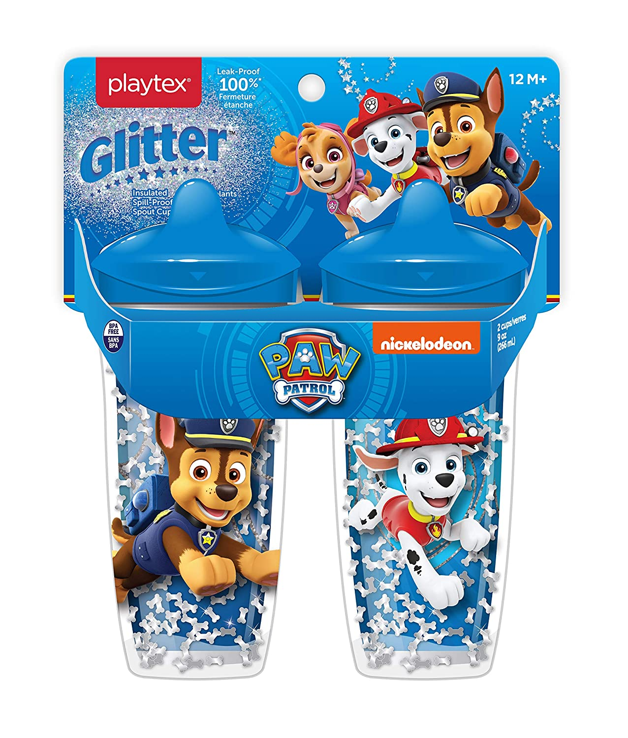 Playtex Sipsters Paw Patrol Boys Glitter Spout Sippy Cup, 9 Oz, 2 Pack