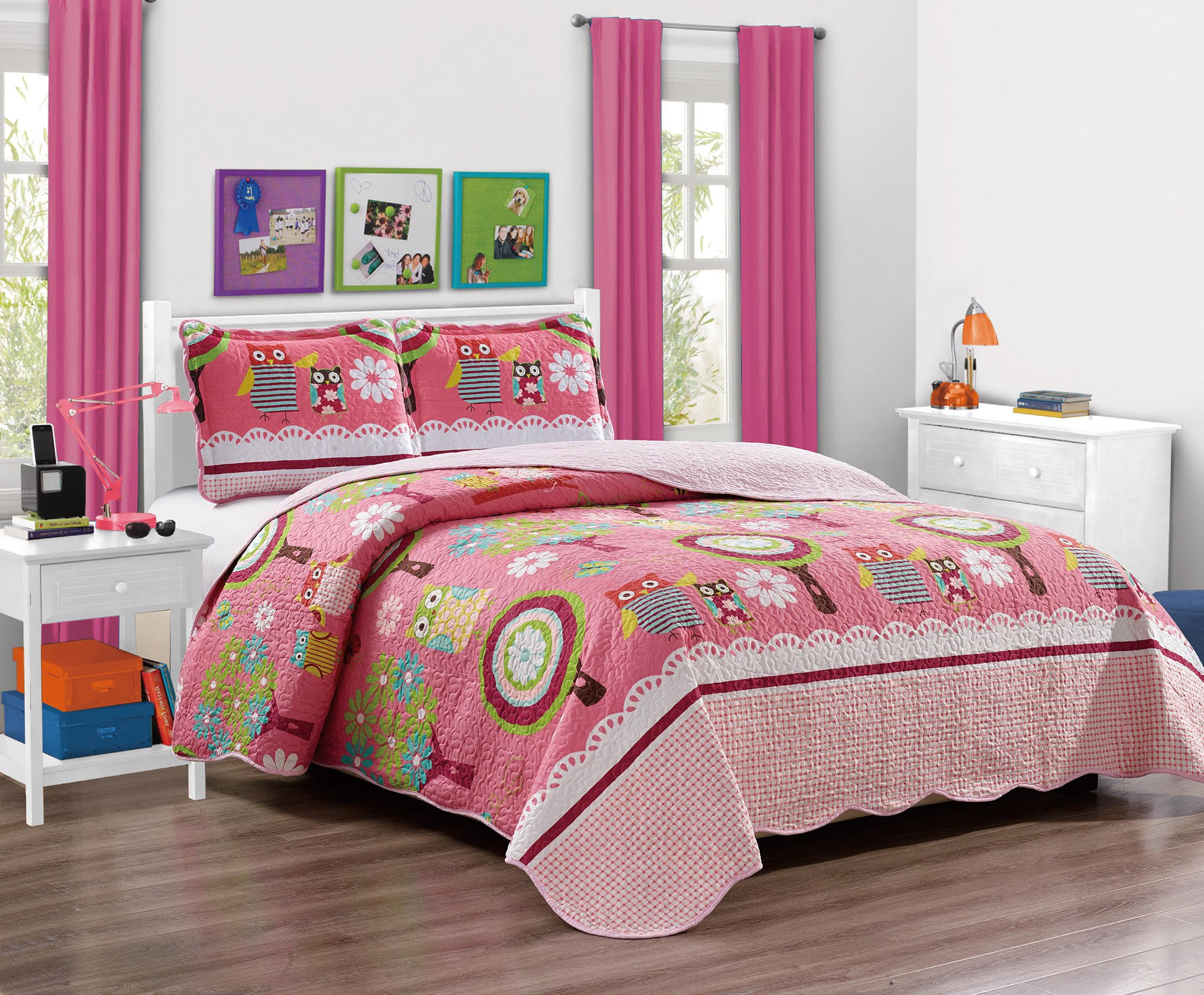 Mk Collection 3pc Bedspread Teens/girls Owl Pink New (Full)