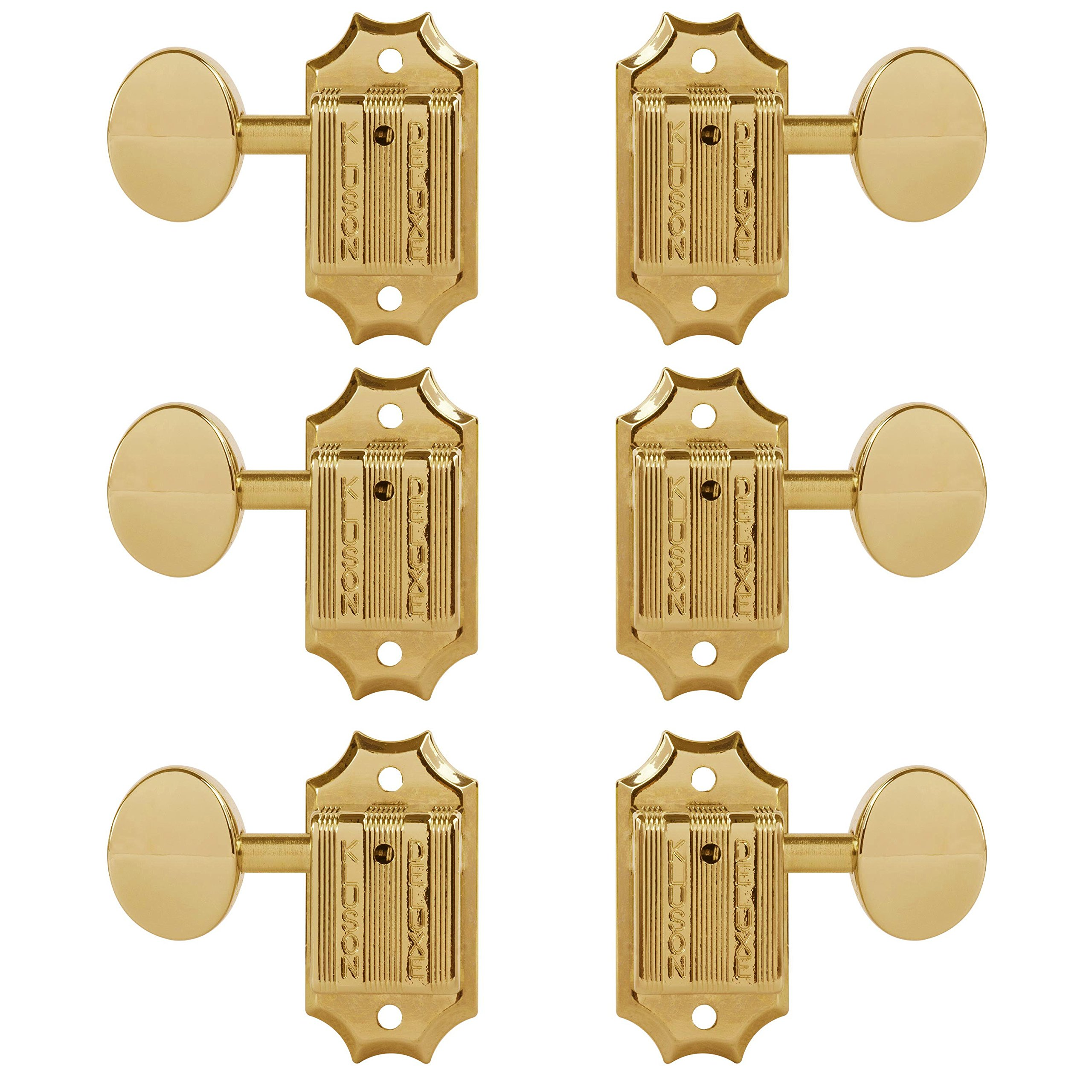 TonePros Kluson 3+3 Tuners with Metal Oval Knobs and Threaded Bushings, Gold