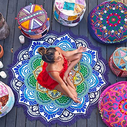 dasking Lotus toalla de playa flecos alfombra de Yoga chal impresión toalla para Yoga/Natación