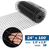 Fencer Wire 16 Gauge Black Vinyl Coated Welded Wire Mesh Size 1.5 inch by 1.5 inch (2 ft. x 100 ft.)