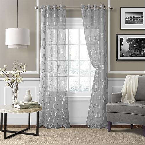 Elrene Home Fashions 26865853971 Grommet Sheer Ironwork Jacquard Woven Single Panel Window Curtain Drape