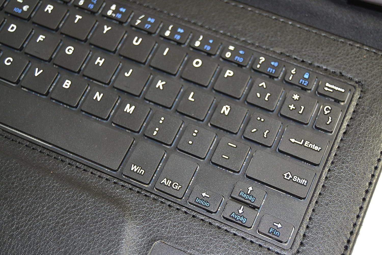 Funda con Teclado Bluetooth Extraíble para Tablet Bq Edison 1,2,3 10.1