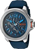 BOSS Orange Men's Quartz Stainless Steel and Silicone Watch, Color:Blue (Model: 1513376)