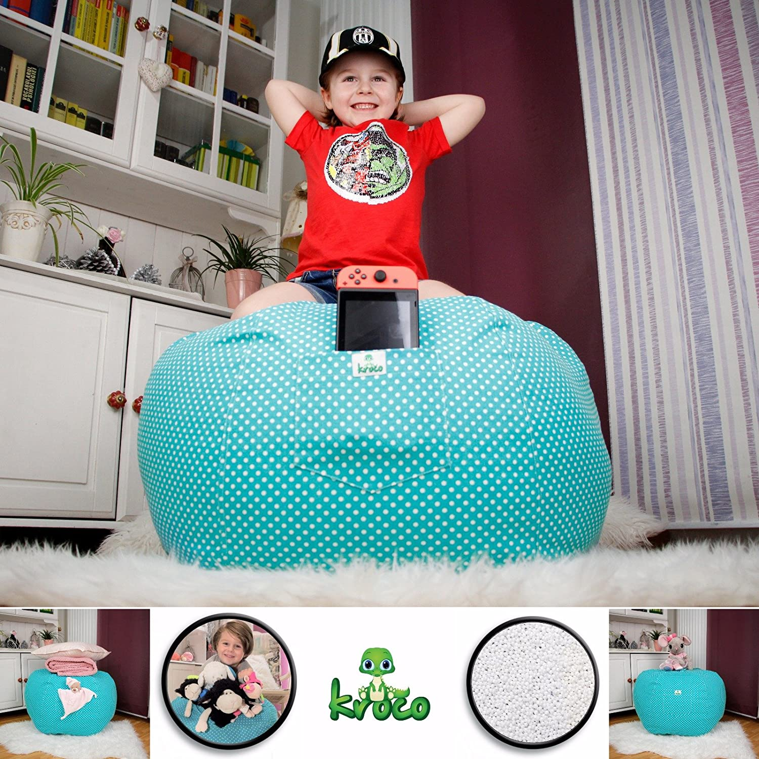Kroco Stuffed Animal Storage Bean Bag 90+ Plush Toys Holder and Organizer for Girls Large Beanbag Chairs for Kids 100/% Cotton Canvas Cover Large, Teal Kroco Store