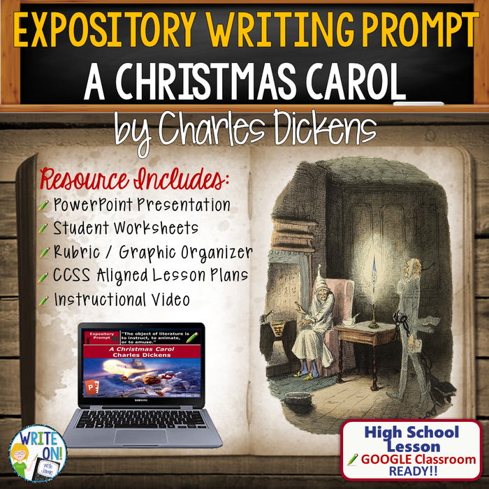 Text Dependent Analysis Expository Writing Resource for A Christmas Carol by Charles Dickens - Lesson w/ PPT, Worksheets, Rubric, Graphic Organizer, Video, & Google Classroom Links (Christmas A Carol Quotes Worksheet)