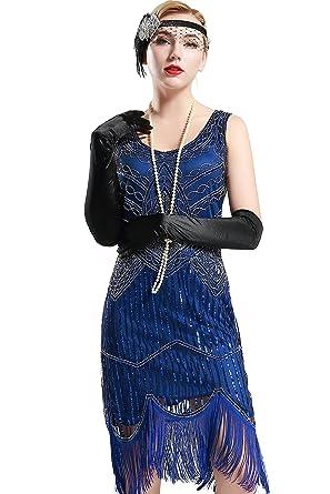 Flapper Art Cou Robe Pour Babeyond Soirée Frangée Costume 1920 Gatsby V Paillette Femme Sans Manche sQhrdCt