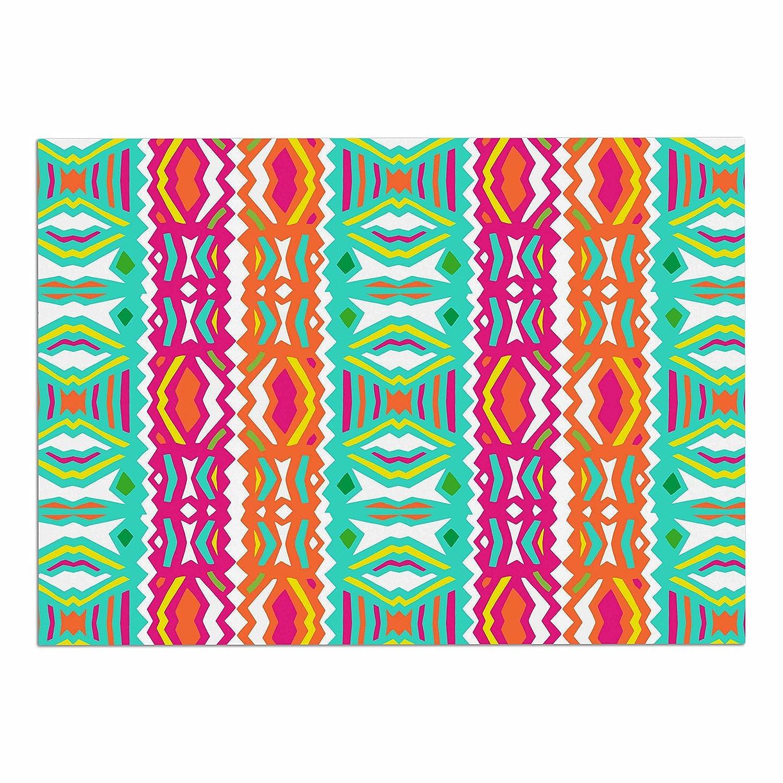 KESS InHouse Miranda Mol Ethnic Summer  Green orange Dog Place Mat, 13  x 18
