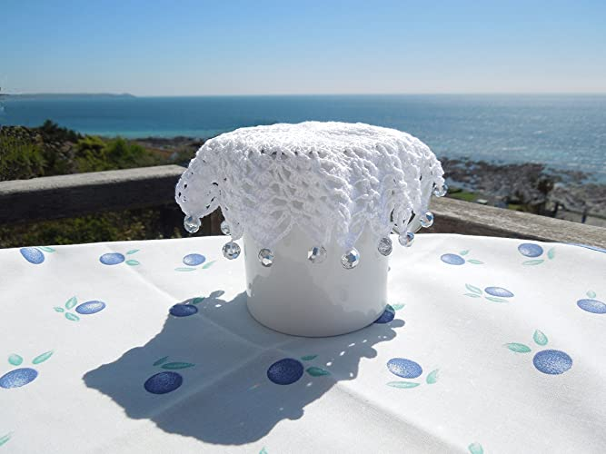 Crochet Milk Jug Cover Edged With Clear Silvery Glass Beads