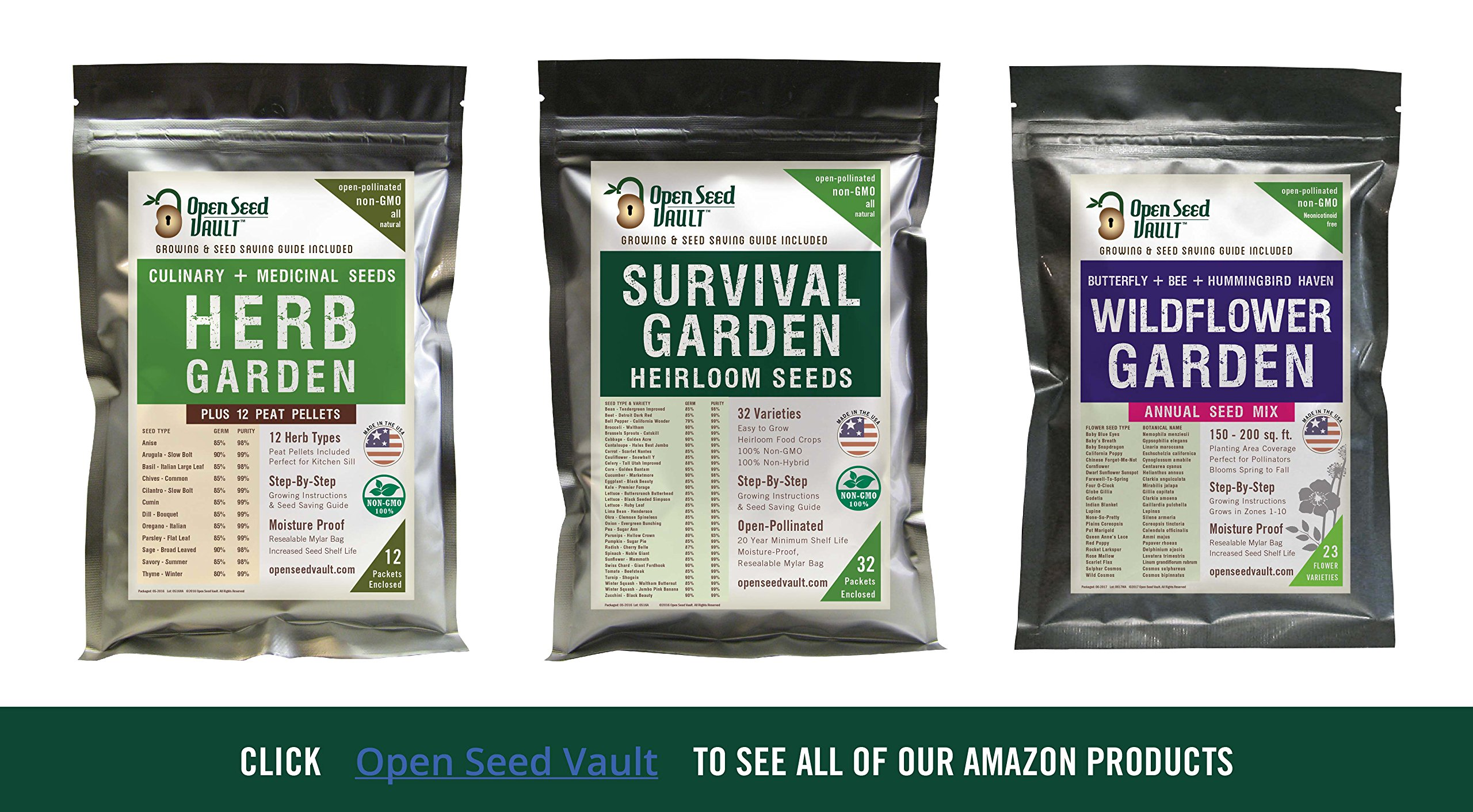 Survival Garden 15,000 Non GMO Heirloom Vegetable Seeds Survival Garden 32 Variety Pack by Open Seed Vault 5 32 Varieties of All Natural Vegetable Seeds: Non hybrid, Non gmo, Heirloom 100% Naturally Grown and Open Pollinated seeds with high Germination Rate Vegetable Growing and Seed Harvesting Guide Included with Seeds Tested for Maximum Germination and Yield.