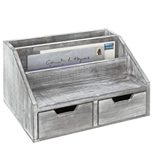 MyGift Gray Whitewashed Wood Desktop Document & Mail Organizer with 2 Slide-Out Drawers