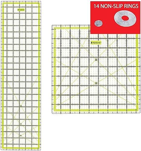 SKYHAWK acrílico para Patchwork Combo Pack de 2 Quilters reglas – rectangular 24
