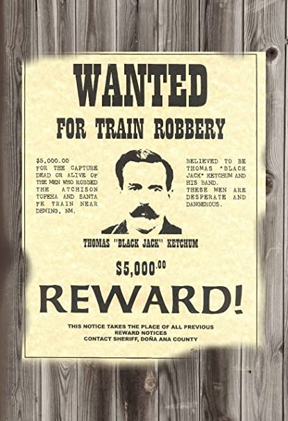 Amazon com: WANTED POSTER BLACK JACK KETCHUM DEAD OR ALIVE 12