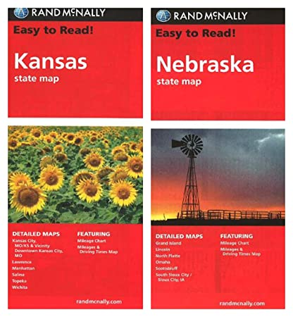 Amazon.com : Rand McNally State Maps: Kansas and Neska (2 Maps ... on map of all georgia cities, map of colorado and nebraska borders, map of indiana area, map tilden nebraska, map of montana, map of eastern wyoming,
