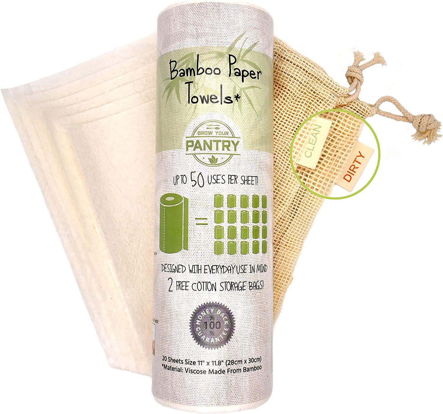 Bamboo Paper Towels From Grow Your Pantry 1 Pack - Eco Friendly, Machine Washable & Reusable for Multipurpose - Comes with TWO Cotton Storage Bags