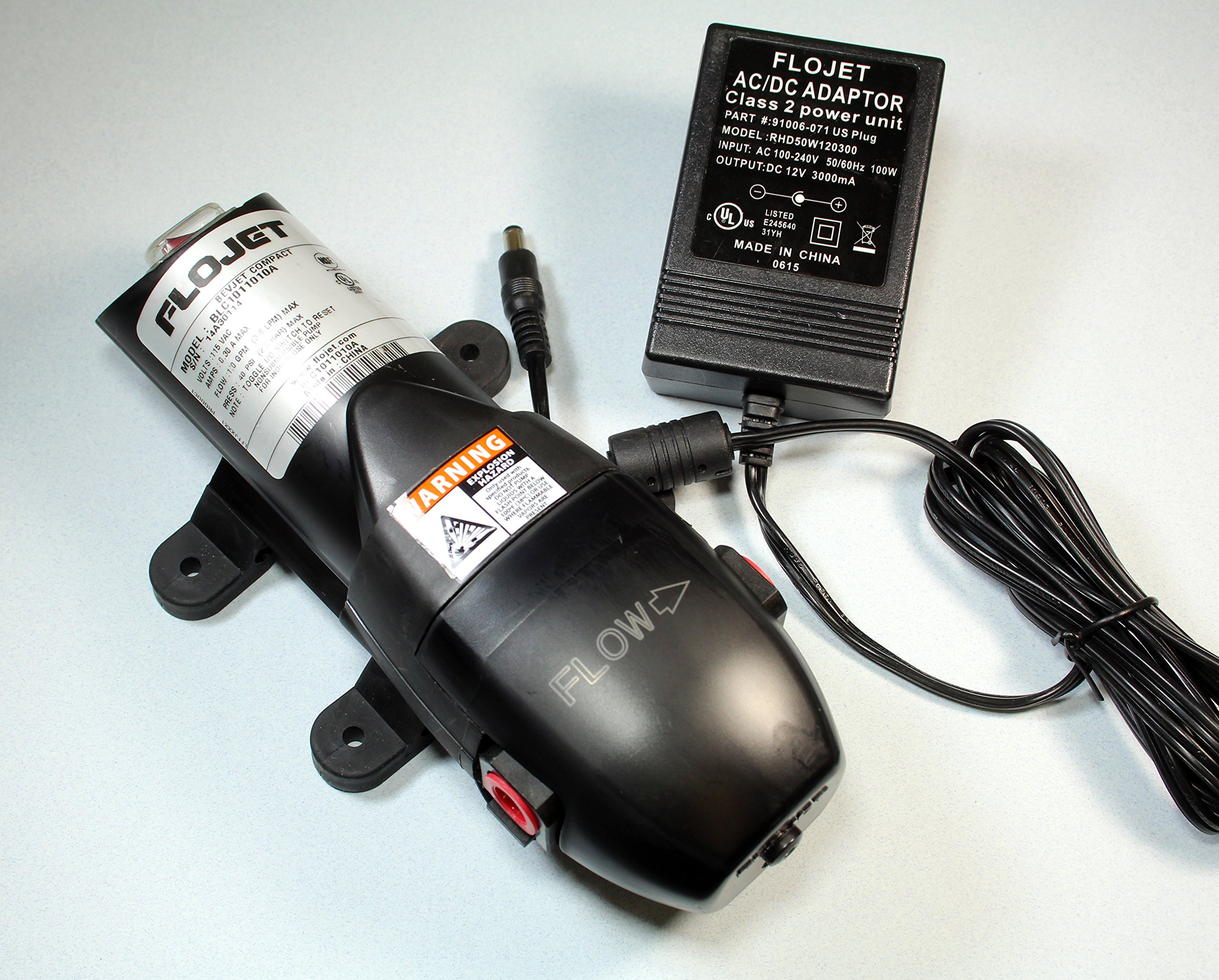 Flojet Bevjet Compact Beverage Pump with Adapter 40psi 12v 1.0 GPM