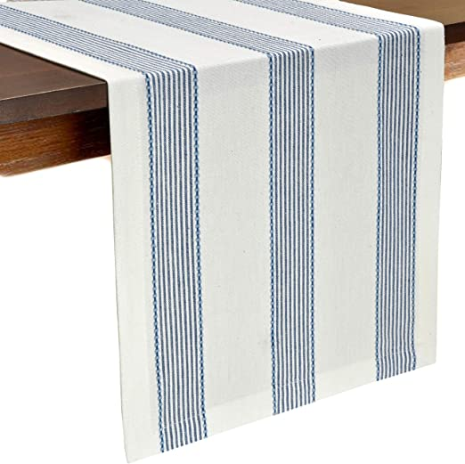 Teal Glamburg 2-Piece Classic Vintage Stripe 100/% Cotton Table Runner Set 16X72 with Mitered Corners