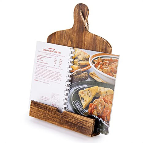 Magnificent Cutting Board Style Wood Recipe Cookbook Ipad Tablet Stand Holder Stand With Kickstand Brown Home Interior And Landscaping Palasignezvosmurscom