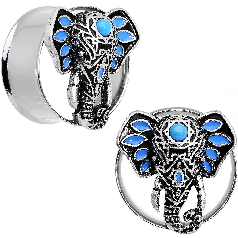 Body Candy Steel Brilliant Blue Accent Bound for Bali Elephant Tunnel Ear Gauge Plug Set 7//8