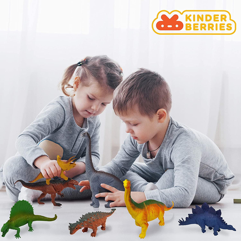 Brachiosaurus Stegosaurus Bonus Dino Book for Kids Toddlers Large Dinosaur Toys Triceratops T Rex 12pc Plastic Dinosaurs Figures Ankylosaurus Toy Figurines Gifts Set 6 5 4 3 Year Olds Boys KinderBerries