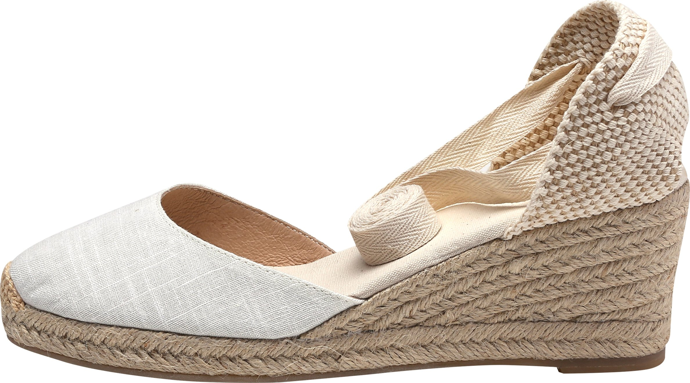 U-lite Women's Summer Leather Innersole Wedges Shoes, Ankle-Wrap Pompom Sandals White7 by U-lite (Image #3)