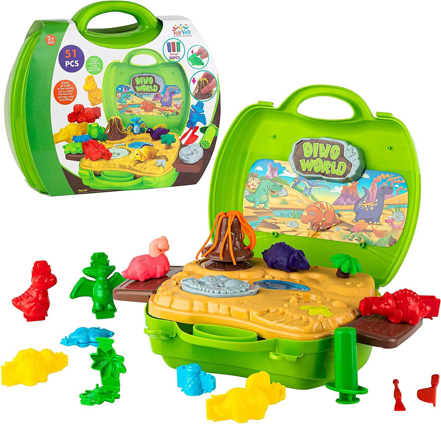 Toyvelt 2021 Clay Dinosaur Toys Set for Kids - Magic Modeling Clay 51 Pieces - Safe & Non Toxic 3D Dinosaur Figures for Kids – for Boys and Girls Age 3-12 Years Old -Updated Version