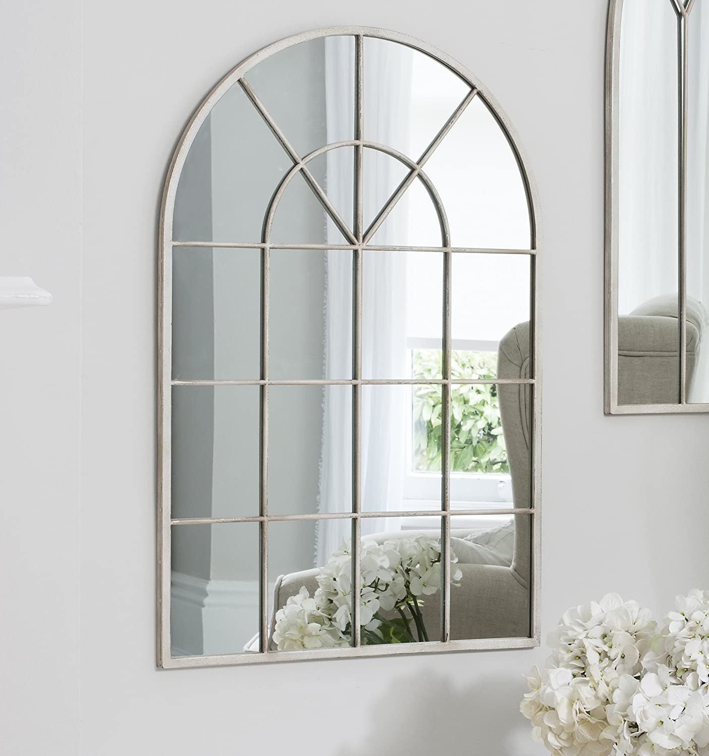 Kelford large vintage cream metal arched window wall mirror 355in x kelford large vintage cream metal arched window wall mirror 355in x 235in amazon kitchen home teraionfo