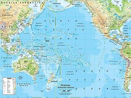 Australia Map Physical Features.Amazon Com Academia Maps Australia Oceania Wall Map Fully